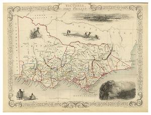Victoria Port Phillip Melbourne Australia illustrated map John Tallis ca.1851