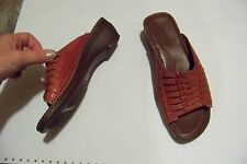 womens auditions dark red leather multi strap wide band wedge heels shoes size 6