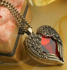 Vintage Womens Girls Love Red Stone Heart Wings Pendant Necklace Long Chain SP