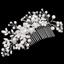 Flower Wedding Bridal Hair accessories Comb Clip piece Crystal Diamante Pearls Y