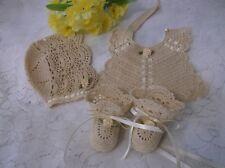 Handmade Hand Crocheted Baby Bonnet, Booties & Bib Set - Ecru