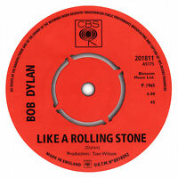 Bob Dylan. Like A Rolling Stone record label vinyl sticker