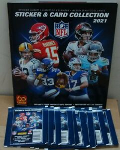 2021 PANINI NFL STICKERS WITH 1 ALBUM 10 PACKS WITH 5 STICKERS PER PACK NEW 👀🏈