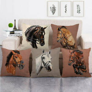 """18"""" Square Horse Hand Painted Throw Pillow Case Cotton Blend Linen Cushion Cover"""