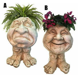 Humorous Old Couple Muggly Face Sculptural Planter Grampa Granny Statue UK