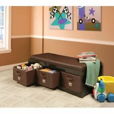 Kids Storage Bench Toy Box Organizer W/ 3 Bins Cushioned Seat Children Furniture
