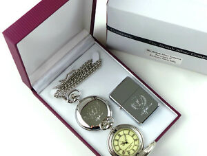 ROCKY MARCIANO Signed Boxer Silver POCKET WATCH Fight  LIGHTER Luxury Gift Case