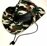 Green Camo Vented Fishing/Hunting Hat with Strap Free Shipping!