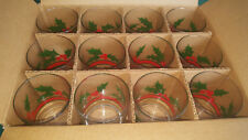 Set 12 Libbey Glass Holly Berry Christmas Old Fashioned Drink Glasses~ Orig. Box