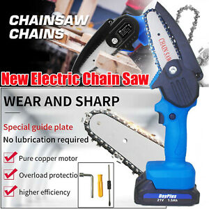 Mini Cordless Chainsaw Electric One-Hand Saw Woodworking Wood Cutter w/ Battery