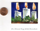 Glowing Holiday Candles  Original Painting  * Miniature *  Watercolor