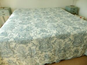 Huge Toile De Jouy Cherubs Birds Courting Couple Quilted Cotton Bedspread S/King