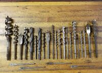 VINTAGE Tools Hand Drill Auger Brace Bits Lot • ANTIQUE Woodwork Mixed Tool ☆USA