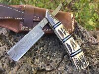 """HUNTEX Handmade Damascus 6.7"""" Deer Antler French Bladed CutThroat Shaving Razor"""