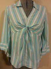 Motherhood Maternity Blue striped blouse Medium M career NWOT 3/4 sleeves
