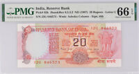India 20 Rupees P 82 K Sign 88 Gem UNC PMG 66 EPQ