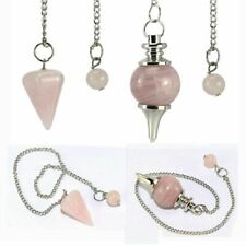 1/2pc Natural Rose Quartz Crystal Stone Pendulum Healing Dowsing Reiki Pendant