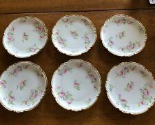 "Set of 6 Ch Field Haviland Limoges 7 1/2"" Plates Pink Roses, Gold Trim"