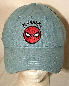 Marvel Comics Light Blue Be Amazing Spider-Man Baseball Trucker Cap Hat New OSFM