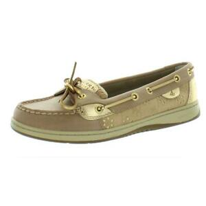 Sperry Womens Angelfish  Beige Leather Loafers Shoes 8.5 Medium (B,M) BHFO 7746
