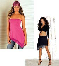 Melrose Damen Zweiteiler Long Top Minikleid Rock schwarz pink Tüll Größe 38 NEU