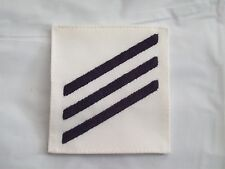 """NAVY Rating Patch USN E-3 Rank SN Seaman Summer Dress White 3 1/8"""" by 3 3/8"""""""