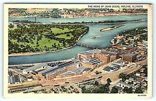 Postcard IL Moline Airview of John Deere Tractor Manufacturing Plant Linen A18