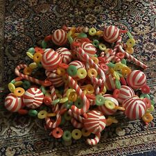 New listing Vintage Christmas Plastic Hong Kong Garland And Ornaments Candy Cane Blow Mold