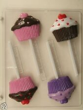 CUPCAKE WITH HEARTS LOLLIPOP CLEAR PLASTIC CHOCOLATE CANDY MOLD V224