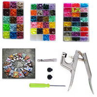 Multicolor Plastic T3 T5 Resin Snaps Buttons Fasteners + Pliers Tool for Clothes