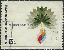 PNG 1968 5c Human Rights Emblem  FU  (46)  Very minor staining on back