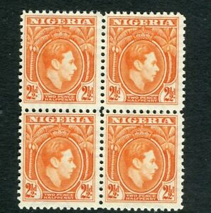 NIGERIA; 1938 early GVI issue fine MINT MNH 2.5d. Block