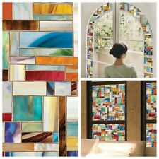 "Stained Glass Decorative Window Film Privacy No Adhesives UV Protection 24""X36"""