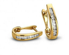0.90cts ROUND DIAMOND 14k SOLID YELLOW GOLD WEDDING ANNIVERSARY HOOPS EARRINGS