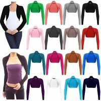 Ladies Womens Cotton Long Sleeve Crop Top Bolero Rib Stretch Cardigan Shrug Top