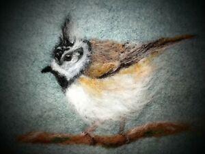Crested TIt  - Needle Felted Card / Felt Art Painting- Original Artwork