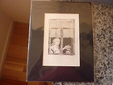 Art, original. Title: Woman in Window. Signed by Andy B. 1985 Pencil/watercolor