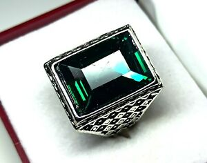 Sterling Silver 60.80 Cts Attractive Green Emerald Men's Ring Size 11 US R-15