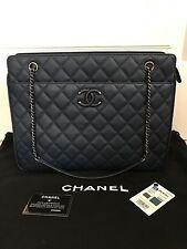 NWT Auth Chanel 16B Navy Blue Quilted Logo Chain Shopper Tote Bag Handbag $4300