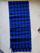 "Unisex Wool Blend Scarf Muffler Royal Blue & Black Check Plaid Mint 12"" X 58"""