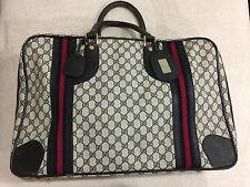 Vintage🔥 GUCCI GG Logo Monogram Navy Leather Carry On Travel Bag Luggage Unisex