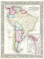 1864 MITCHELL MAP SOUTH AMERICA VINTAGE REPRO POSTER ART PRINT 2948PYLV