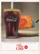 "1964 COCA~COLA ""COKE & EGGS"" VINTAGE ORIGINAL LAMINATED AD ART"