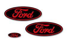 Ford Oval Badge Emblem Logo Overlay Sticker Decal Set For Ford F150 15-18 RED BK