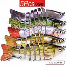 "5Pcs/Lot Multi Jointed 3.9"" Fishing Lures Bait Bass Pike Crankbait Swimbait Bait"