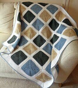 Handmade OOAK Crochet Blanket Throw Afghan Camper Granny Square Blue Grey Beige
