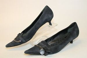 Gucci Italy Made Womens 8 B Black Suede Pumps Kitten Heels Shoes
