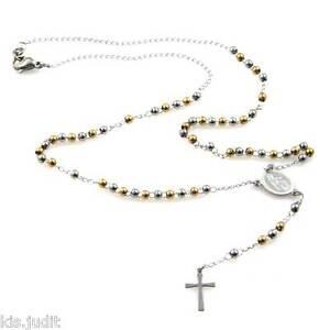 Collana rosario da donna uomo girocollo in acciaio inox oro argento con croce a