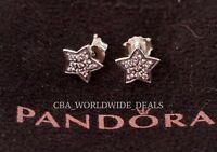 NEW Authentic PANDORA Silver Clear Pave Star Earrings w/ CZ 290546CZ