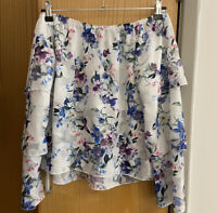 LIPSY FLORAL PRINT TIER BARDOT TOP SIZE UK 8 New Summer Off Shoulder Ladies Next